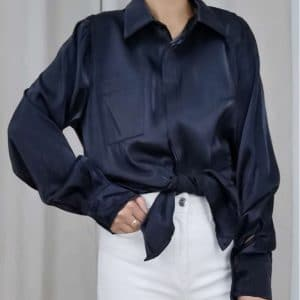 Satijnen blouse zwart